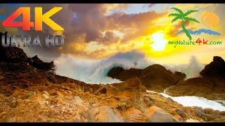 4k nature video - asmr sounds. sea waves 60fps uhd. italy/vulcano island #1