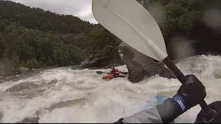 Middle Ocoee Whitewater Kayaking Using Hi-N-Dry Rolling Aid - Son