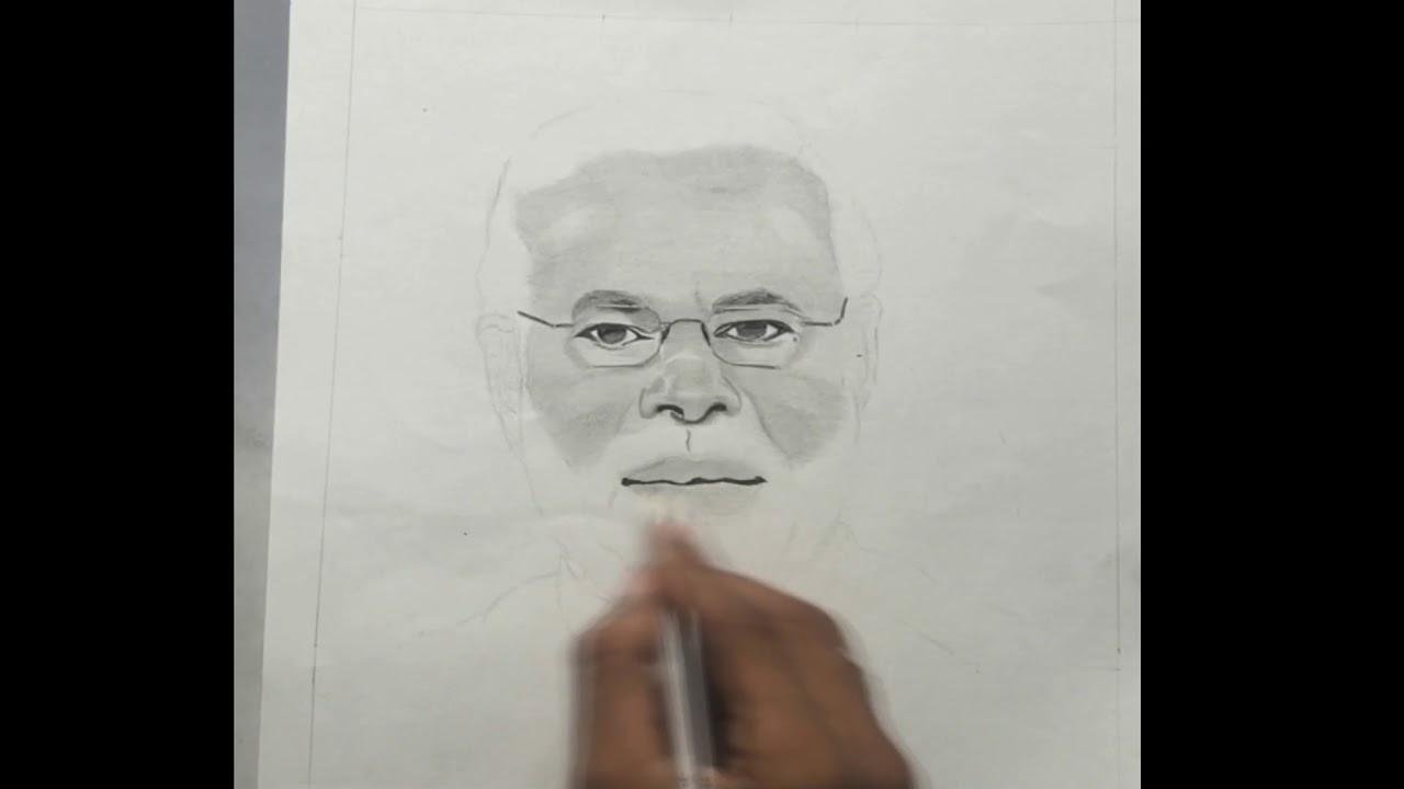 Narendra Modi sketch   step by step   Govind Art's - YouTube