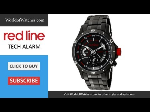 RED LINE Men's Tech Alarm Black Dial Black Ion Plated Stainless Steel 50020-BB-11
