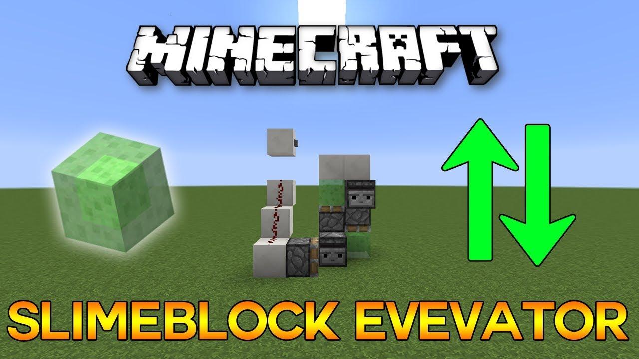 Minecraft Most Simple Slimeblock Elevator Tutorial Youtube