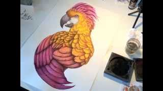 Palm parrot ink & watercolour painting