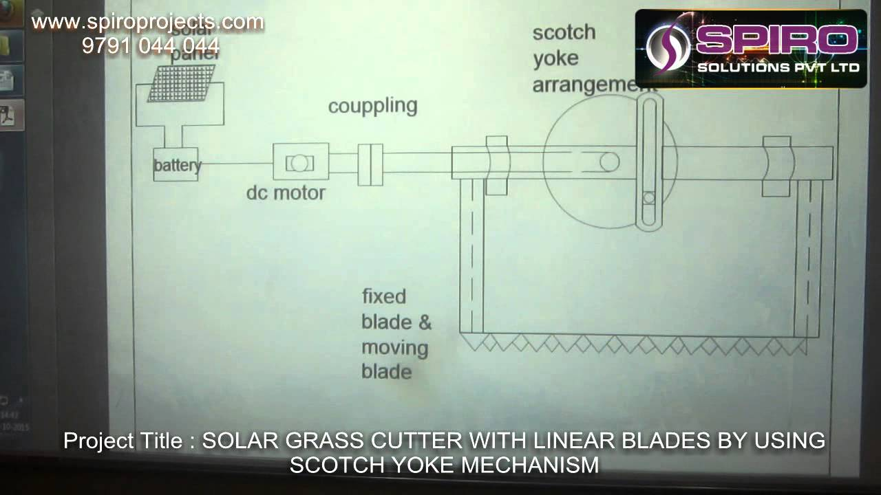 Solar Grass Cutter With Linear Blades By Using Scotch Yoke Mechanism Ece Rockstars Microcontrollerbased Charger