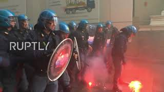 Italy: Antifa clash with police on the streets of Bologna