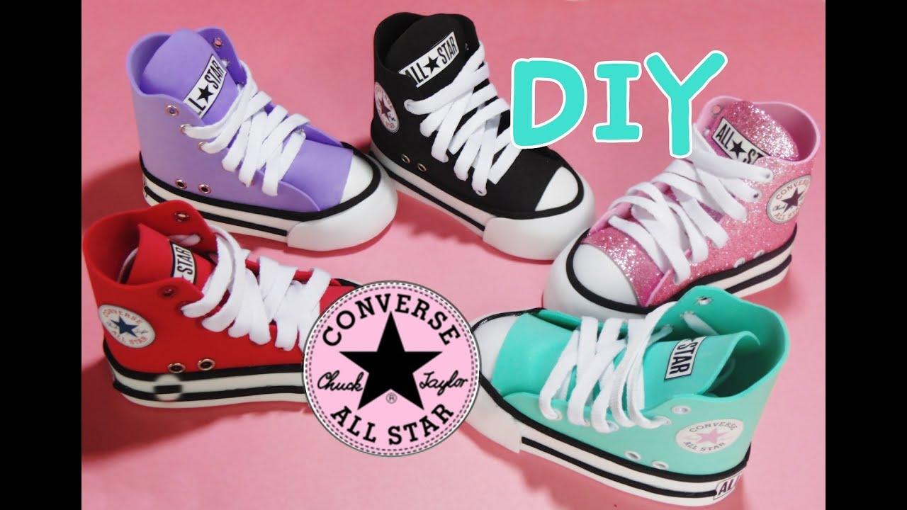 zapato converse mini en foami para decoracion (porta lapices, porta brochas) diy regreso a clases