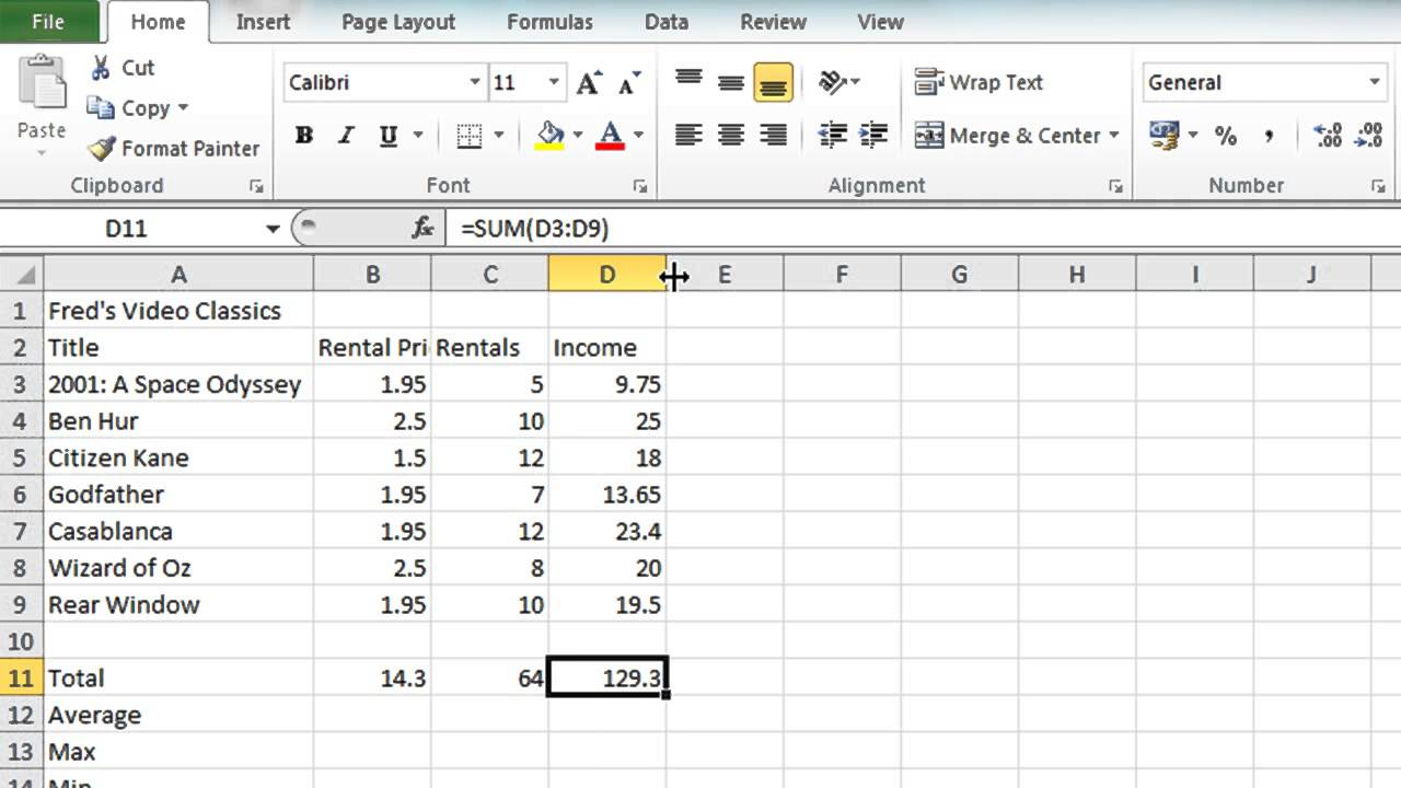 microsoft excel 2010 tutorial video free download