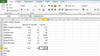Excel 2010 Tutorial For Beginners #4 - AutoSum Function (Microsoft Excel)