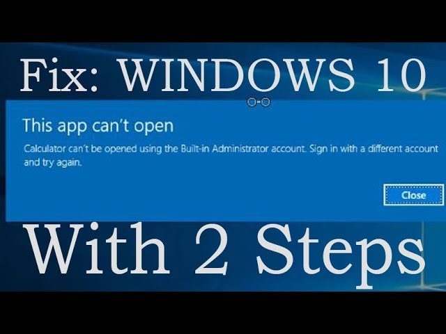 Windows Fix-This App Can\u0027t Open With Built In Administrator Account %%