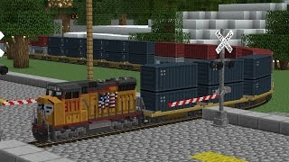 Railfanning in Minecraft 2: UP Engine Leads CSX Intermodal Carrying Marines Helicopter