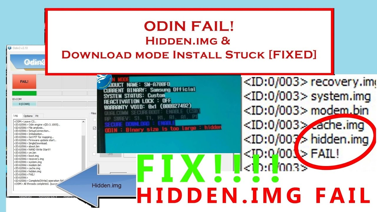 Samsung SOLVED!! Odin fail at hidden img, Softbrick Recovered
