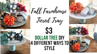 DOLLAR TREE TIERED TRAY / $3 STYLED 4 WAYS/ FARMHOUSE DECOR ON A BUDGET/ FALL THEME