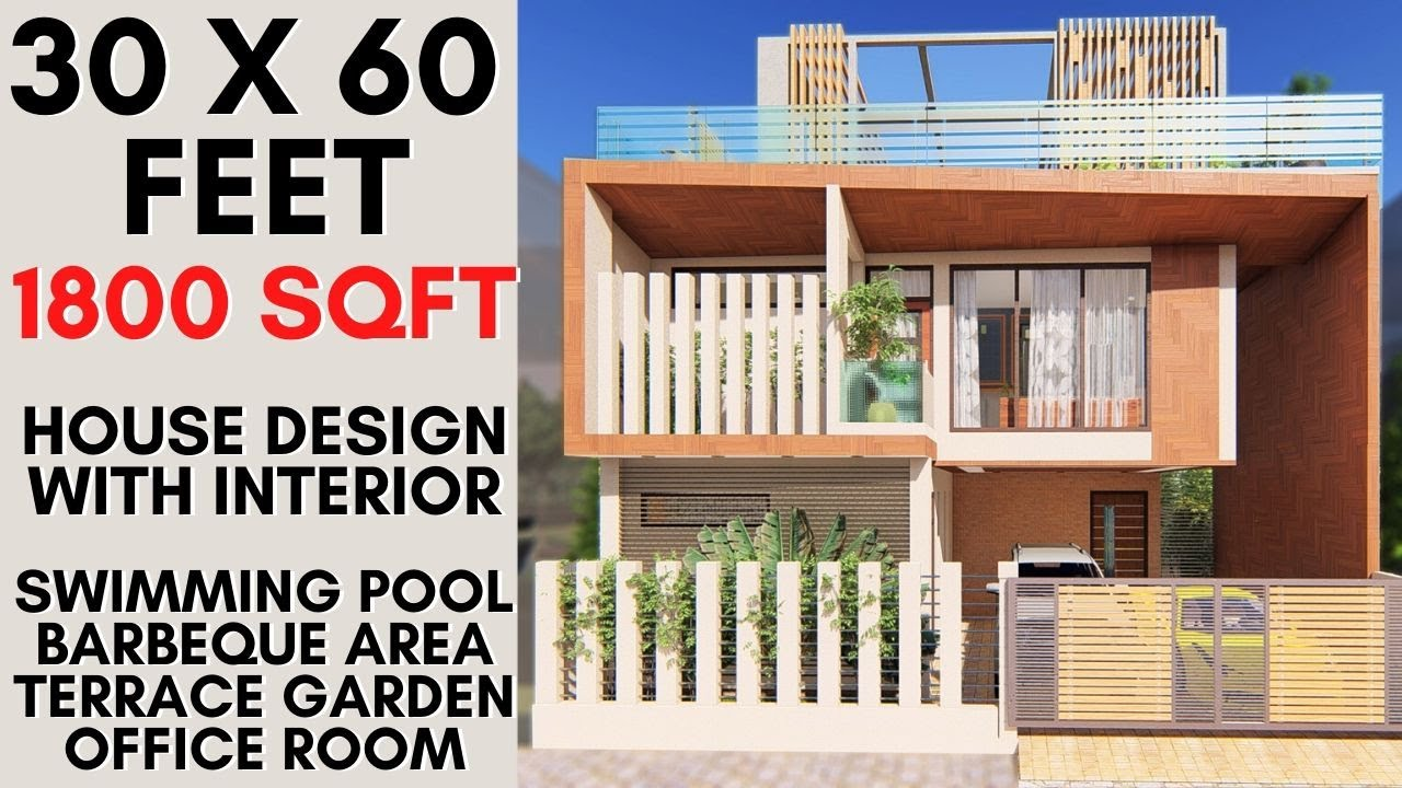 30x60 Feet 1800 Sqft Luxurious House With Swimming Pool Barbecue Space 9x18 Meter House Design Youtube