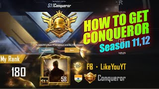 Finally Reached Conqueror Season 11 Highlights | How To Get Conqueror Season 11,12 | Pubg Mobile