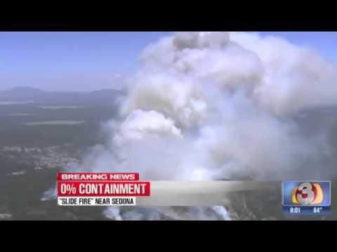 SLIDE WILDFIRE UPDATE - Fire Moving Towards Flagstaff AZ