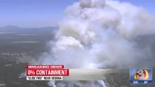SLIDE WILDFIRE UPDATE - Fire Moving Towards Flagstaff AZ