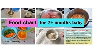Food chart for 7 months baby ( Food guide, Tips & recipes for 7+ months baby ) c4cooking babyfood