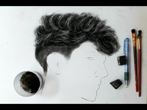 Vẽ tóc nam .Vẽ tóc xoăn . Tóc mì tôm bằng bột than cực nhanh . HT Art