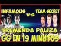 INFAMOUS VS TEAM SECRET TREMENDA PALIZA GG EN 19 MINUTOS / DOTA 2