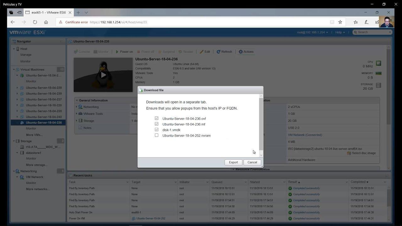 Exportar Máquina Virtual desde VMware vSphere Hypervisor ESXi a Virtualbox