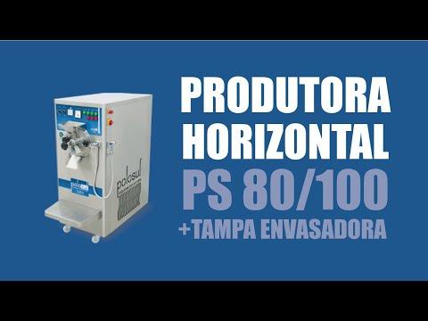 Produtora Horizontal De Sorvete E Açaí PS 80/100 Com Tampa Envasadora - Polo Sul Máquinas