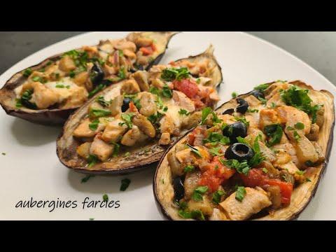 très-bonne-recette-d'aubergines-farcies-au-poulet,-mozzarella-et-légumes.