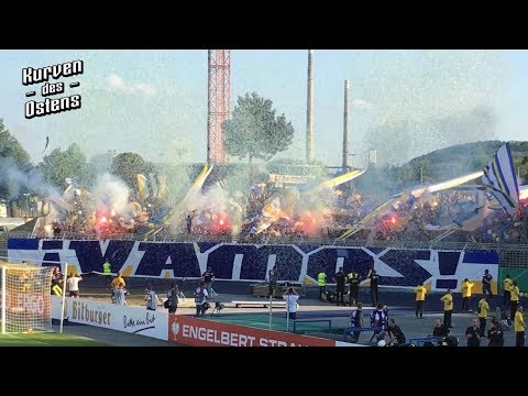 FC Carl Zeiss Jena 2:4 1. FC Union Berlin 19.08.2018 | Choreo, Pyroshows & Support