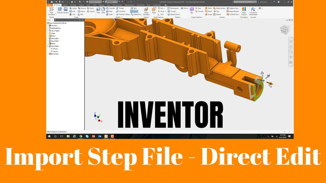 Autodesk Inventor 2019 - Import and Edit Step Files - How To Direct Edit  LIke A Champ