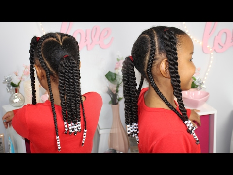 Valentine's Day Hair - Braids, Beads & Ponytails ▸ Natural Hairstyles for Kids - 동영상