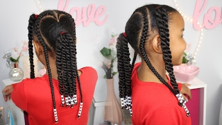 Valentine's Day Hair | Braids, Beads & Ponytails ▸ Natural Hairstyles for Kids