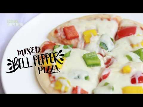 Easy Homemade Veg Mixed Bell Pepper Pizza Recipe by Cooking Simplified