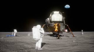 "4K Approximately two hours into the historic Apollo 11 ""moonwalk."""