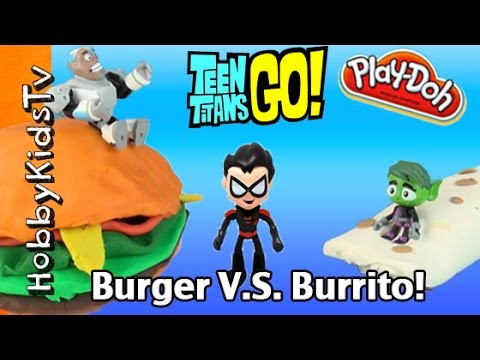 Burger Vs Burrito Battle! Teen Titans GO with HobbyMack by HobbyKidsTV