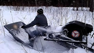 Рубилово  на мототолкаче  Ураган. Снегоходах  Рысь и буран, по камышам и глубокому снегу.
