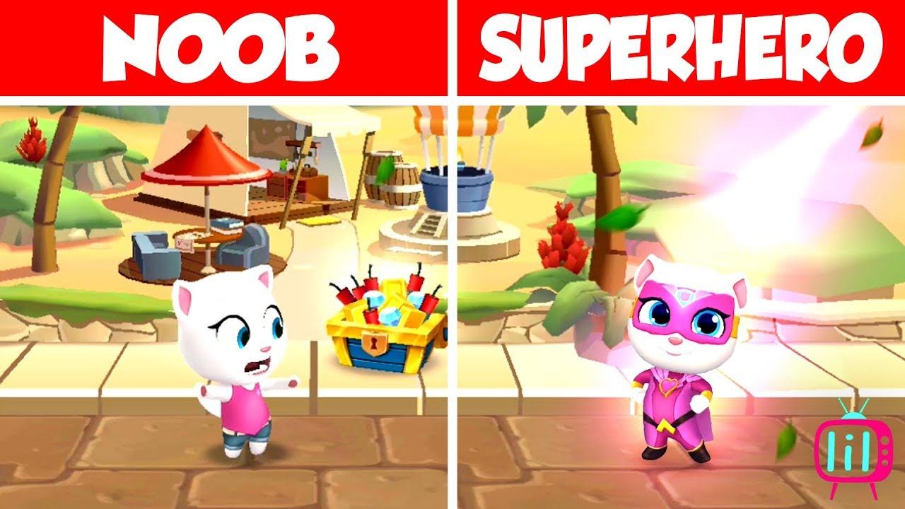 NOOB VS SUPERHERO!💥 TALKING ANGELA VS SUPER ANGELA! android ios gameplay  1080p widescreen landscape