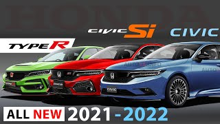 New Honda Civic 2021 Model XI Gen Rendered with 1 5 Vtec Si and Type R 2022 Sedan or Hatchback