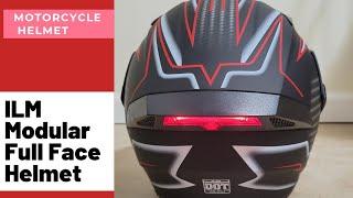 ILM Motorcycle Dual Visor Flip up Modular Full Face Helmet DOT LED Lights   REVIEW & UNBOXING