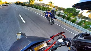 BACK ON THE SUPERMOTO! RACING RANDOM SPORT BIKE!