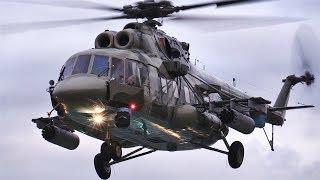 """Красивые   взлеты и посадки вертолета  Ми-8АМТШ  в процессе съемки передачи """"Военная приемка"""" Москва"""