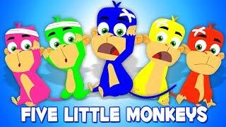 ห้าลิงน้อย | เด็กบ๊อง | เพลงสำหรับเด็กทารก | Five Little Monkeys | Rhyme Songs | Preschool Rhymes
