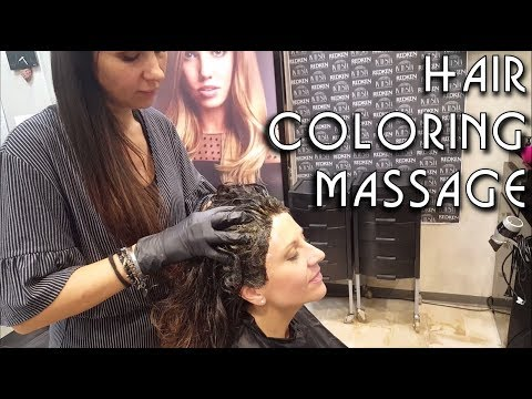 ✂️ Relaxing Hair Coloring at Salon - Head and Hair Massage  - ASMR no talking