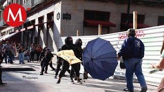 Se registra enfrentamiento entre policías y encapuchados