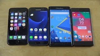 iPhone 7 vs. Samsung Galaxy S7 vs. BlackBerry Priv vs. Sony Xperia X Performance Benchmark Speed!
