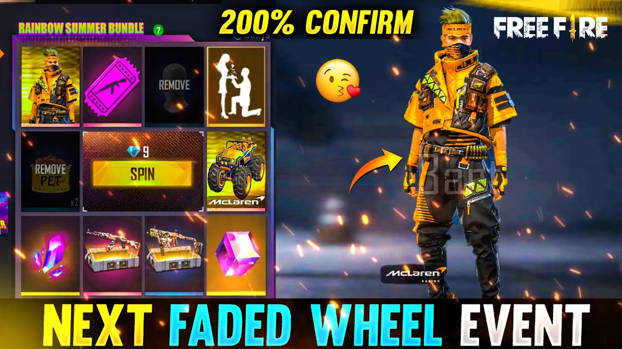 NEXT FADED WHEEL EVENT FREE FIRE | UPCOMING MACLAREN FADED WHEEL EVENT | FREE FIRE NEW EVENT