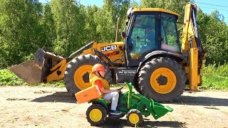 Excavators - Lev and Dad Ride on Power Wheels Tractors and Truck Compilation video