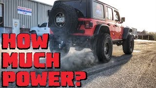 Burnouts and DYNO TUNING our Turbo 3.6L Jeep Wrangler JLU Rubicon!