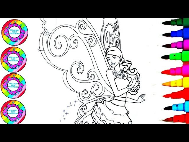 Colouring and Drawing Barbie and the Fairy Secret with Marshmallows Colored Wings Coloring Pages