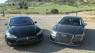 2013 Tesla Model S P85 vs Audi S8 Mile High 0-60 Mashup Review