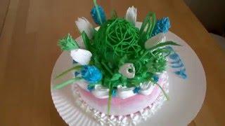 торт букет , 3-д торт весенний букет