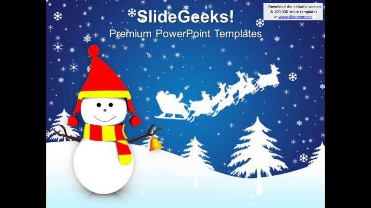 Snowman And Santa Sleigh Christmas Background Powerpoint Templates