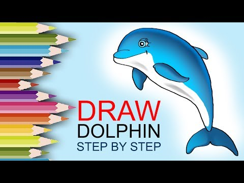 How to draw a Dolphin step by step for kids